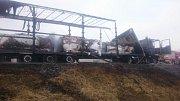 Následky požáru kamionu na D46 u Želče