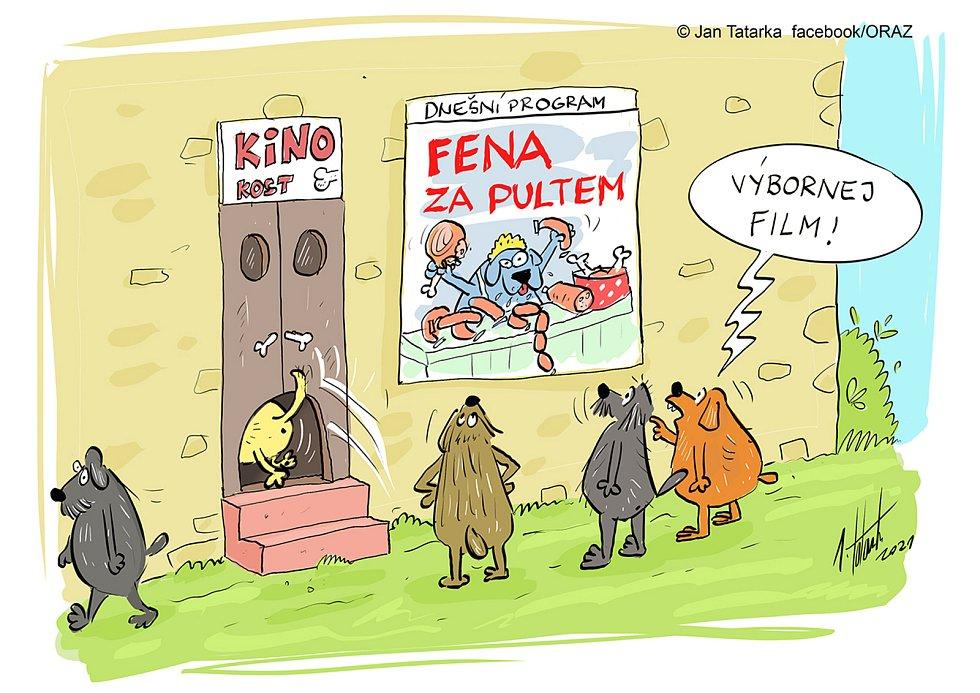 Kreslený vtip kreslíře Jana Tatarky z Mostkovic