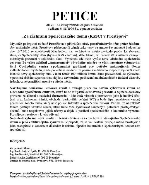 Petice za záchranu Společenského domu KaSC vProstějově