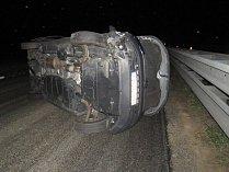 Nehoda volkswagenu v uzavřeném úseku D46 u Prostějova