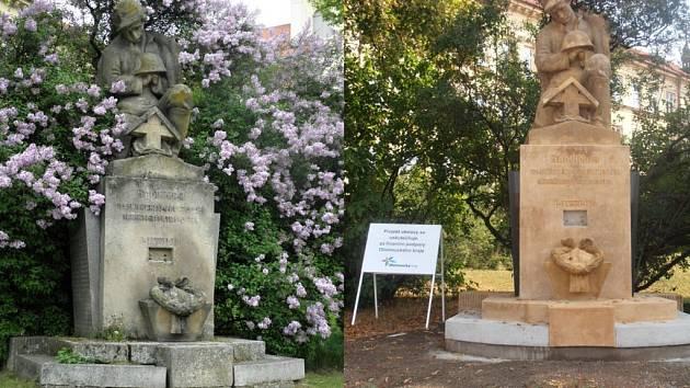 Pomník padlých hrdinů 1. svěrové války v Kostelci na Hané, před a po opravě