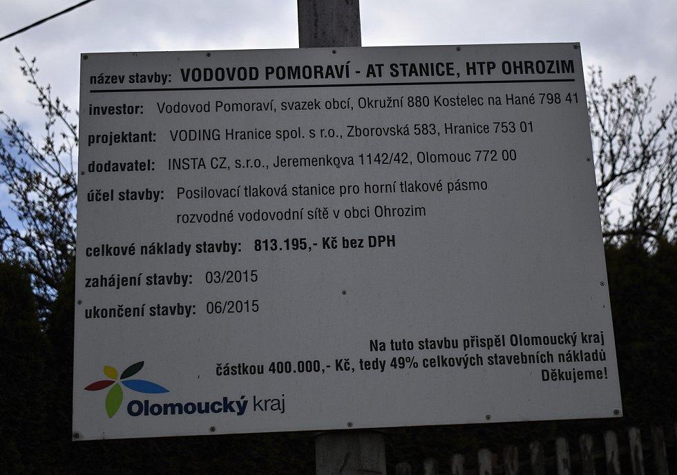 Uzavírka Ohrozimi kvůli stavbě kanalizace - 3. května 2021