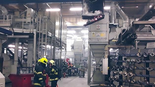 Požár filtrace v průmyslovém areálu v ulici U Spalovny v Prostějově
