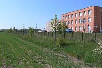 Pozemky za prostějovskou nemocnicí.