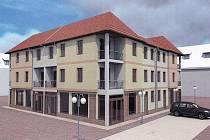 Návrh polyfunkčního domu, který by měl vzniknout v Koželuhově ulici v prostoru prostějovského Špalíčku