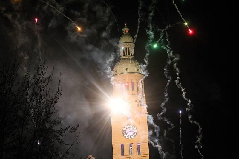 Silvestrovský velkolepý ohňostroj v Prostějově. 31.12. 2019