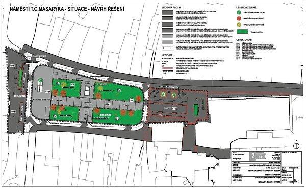 Situační výkres proměny náměstí TGM vProstějově