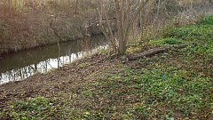V těchto místech na břehu říčky Haná u Němčic nad Hanou byly nalezeny části těla neznámého člověka