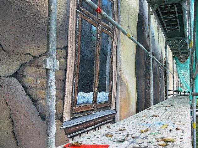 Malba židovských domů na městských hradbách ve Školní ulici v Prostějově