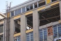 Rozebírání budov bývalého sídla OP v Prostějově