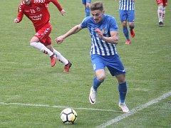 Fotbalisté Prostějov (v modrém) proti Uherskému Brodu