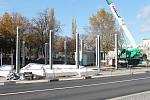 Práce na stavbě autobusového terminálu na Floriánském náměstí v Prostějově 6. 11. 2019