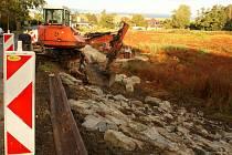 Probíhající revitalizace rybníka Bidelce v Plumlově - 26. 9. 2019