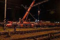 Vykolejení nákladních vagónů u prostějovského hlavního nádraží