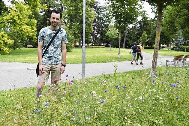 Libor Marčan popisuje rostliny, které tvoří louku ve Smetanových sadech.