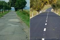 Stará (vlevo) a nově opravená silnice mezi Čelechovicemi a Kaplí