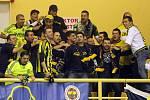 Utkání Champions League ve volejbale mezi VK Modřanská Prostějov (v modrém) a Fenerbahce Acibadem Istanbul