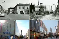 Prior v toku času: 1. Náměstí s domy před výstavbou Prioru (vlevo nahoře), 2. Výstavba Prioru (vpravo nahoře), 3. Podoba Prioru v roce 2011 (vlevo dole), 4. Prior alias Zlatá brána - listopad 2013 (vpravo dole)