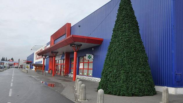 Před obchodními domy se už objevily vánoční stromy