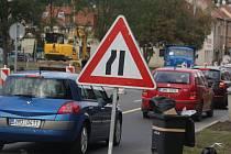 Hustá doprava v centru Prostějova. Ilustrační foto