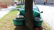 Havárie řidičky v Palackého ulici v Prostějově