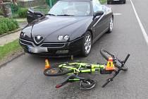 Srážka cyklisty s autem v Žárovicích