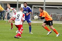 Prostějovští fotbalisté poprvé na jaře padli. Na domácím trávníku nestačili na třináctý tým MSFL rezervu Zlína. Diváci mohli vidět sedm branek a deset žlutých karet.