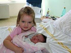Dominika Navrátilová se sestřičkou Monikou, Prostějov, narozena 8. srpna, 51 cm, 3300 g