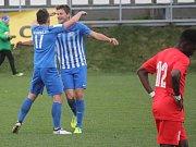 Fotbalisté 1. SK Prostějov (v modrém) v 15. kole MSFL porazili FC Viktorii Otrokovice 4:0