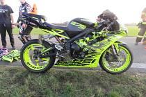 Nehoda motorkáře ve směru od Vrchoslavic na Mořice