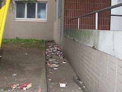 O úklid odpadků kolem nádražní budovy se nikdo nestará.