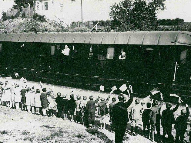 Odjezd prezidenta Masaryka zNěmčich nad Hanou