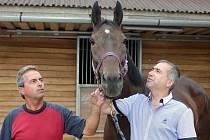 Trenér Stanislav Popelka (vlevo), kůň Nikas a jeho majitel Petr Kupka