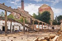 Vyhořelé silo v centru Prostějova.