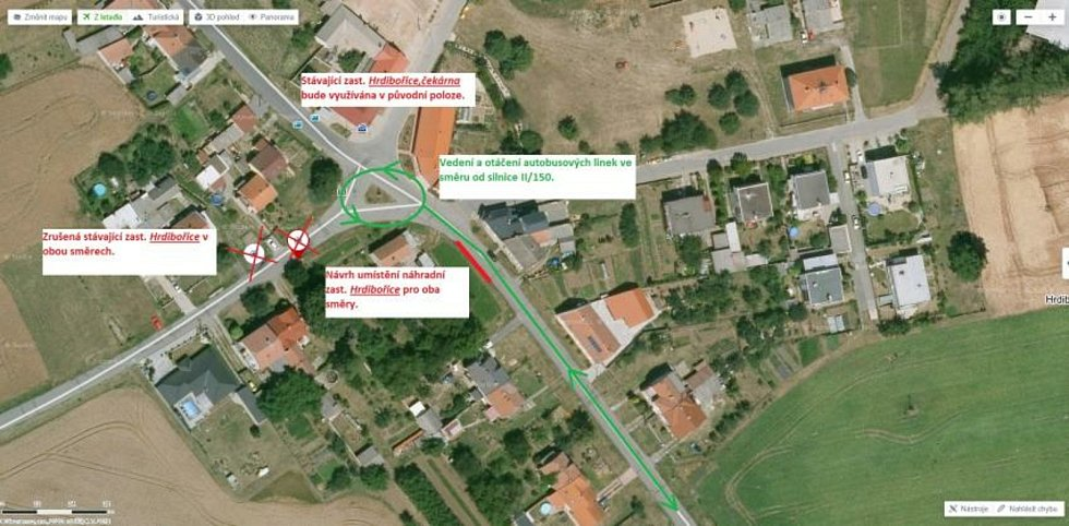 Uzavírka silnice 150 mezi Prostějovem a Dubem nad Moravou - umístění zastávky v Hrdibořicích.