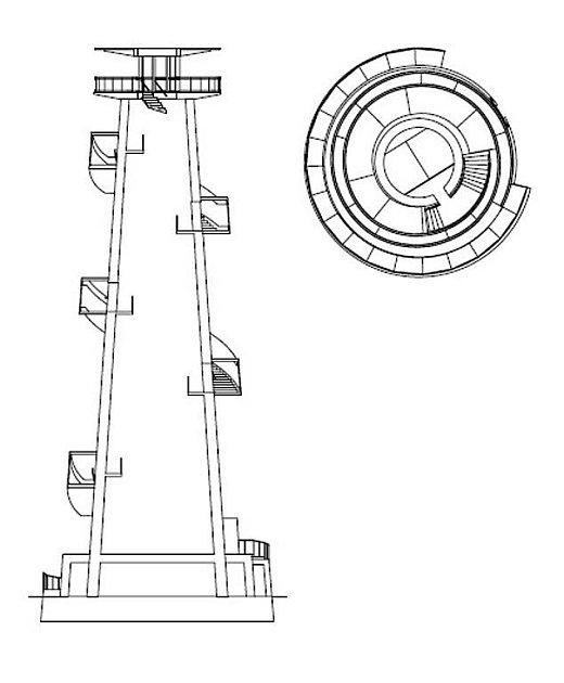 Rozhledna na Kosíři - řez půdorys návrhu dřevěného řešení stavby