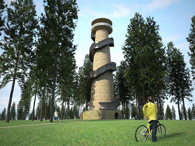 Rozhledna na Kosíři - vizualizace návrhu dřevěného řešení stavby