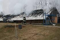 Požár seníku v Lutotíně