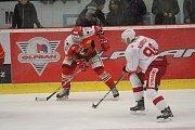 WSM liga, 16. kolo: LHK Jestřábi Prostějov (v červeném) proti HC Slavia PrahaJan Rudovský (LHK Prostějov)
