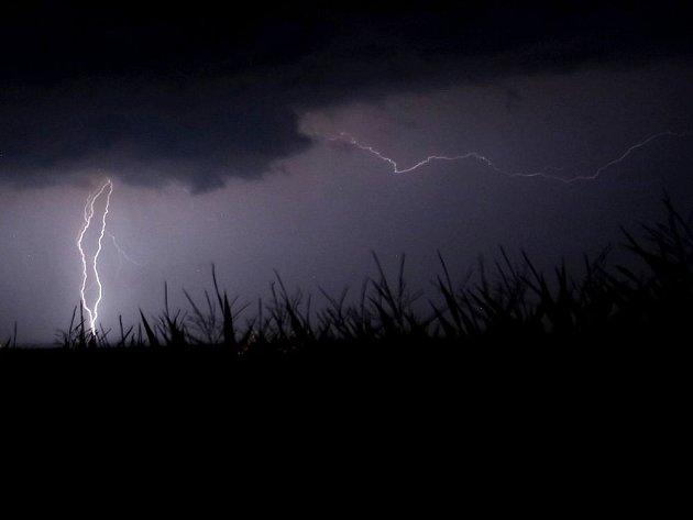 Noční bouřka nad Prostějovskem 9. srpna 2013