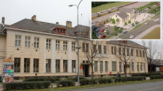 Místní nádraží v Prostějově - současný stav, vpravo nahoře vizualizace nahrazující novostavby od Správy železnic