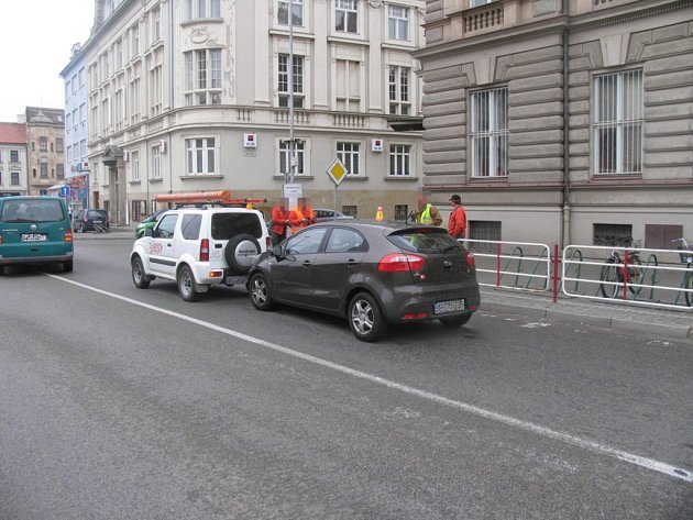 Nehoda na Poděbradově náměstí v Prostějově