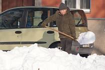 Sníh na Husově náměstí v Prostějově