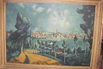 """Bohuš Čížek, """"Pohled na Prostějov 1941"""", olej na plátně"""
