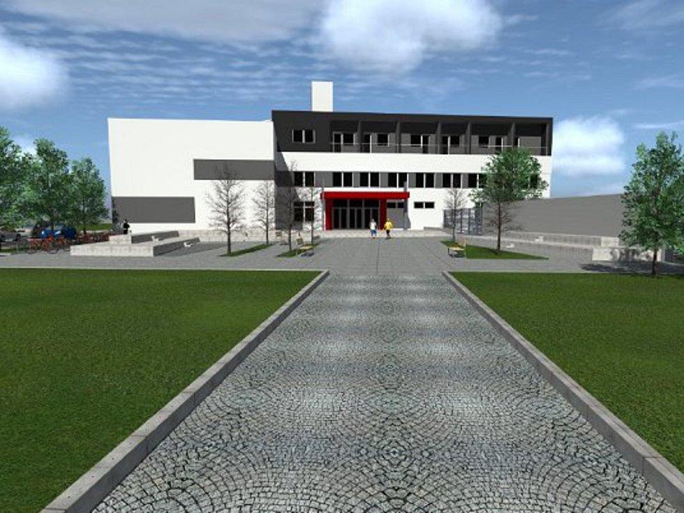 Vizualizace představuje novou podobu prostranství před Sportcentrem v Prostějově