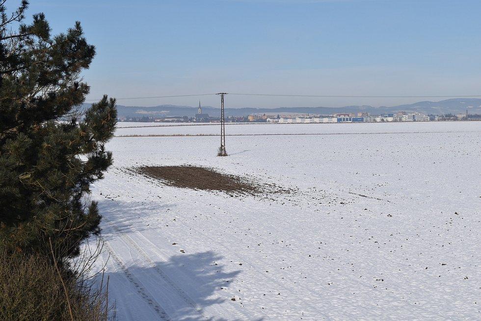 Místo, kde je naplánované vybudování dálničního odpočívadla.