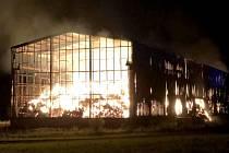 Požár skladovací haly v Protivanově