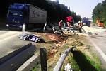 Nehoda náklaďáku na R46 u Brodku u Prostějova