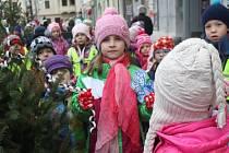 Děti ze základních a mateřských škol v Prostějově zdobily mini stromečky na náměstí