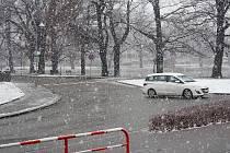 Sněhová nadílka v Prostějově. Úterý 21. ledna 2014